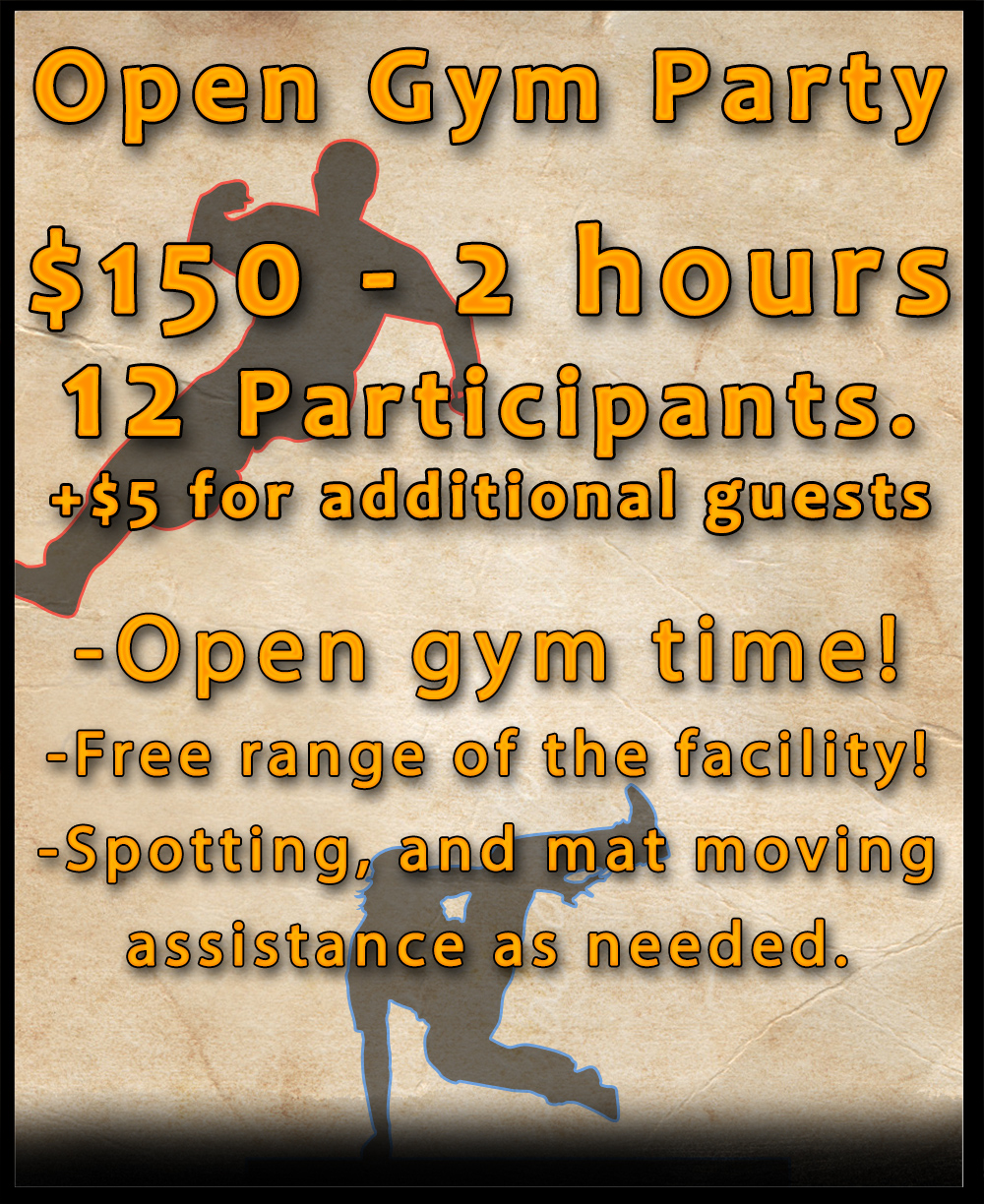 Open Gym birthday Party Website